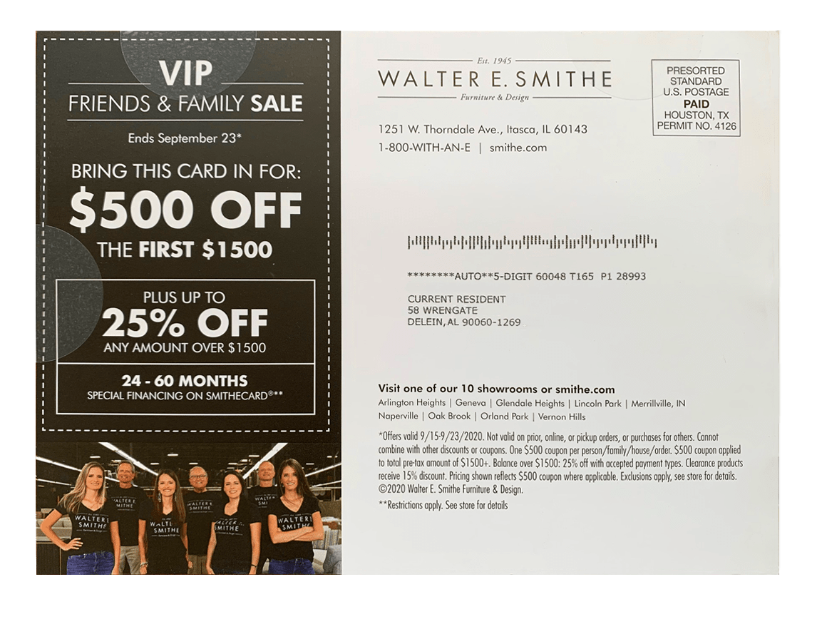 Walter E. Smith direct mail design offer